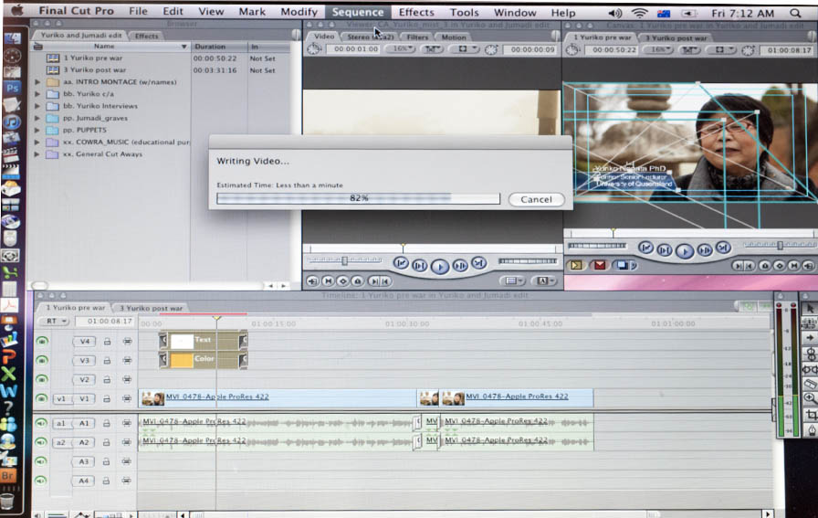 Editing footage on Final Cut Pro