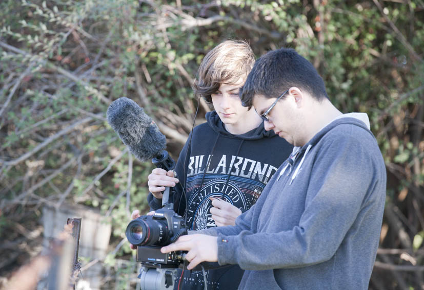 Jack Warren (sound) and Dylan Oliver (camera) at Cowra Cemetery capturing cutaways