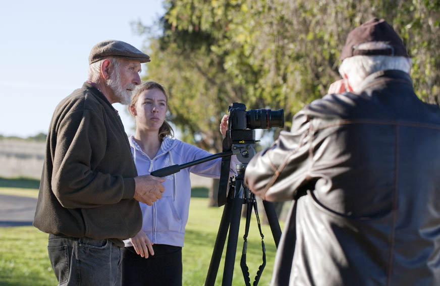 Norm Palazzi (L) with Claire Liversidge and Bruce Ryan at Documentary workshop